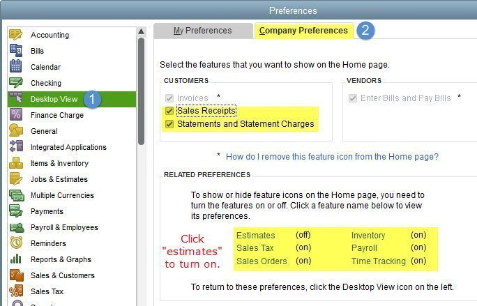 Customize the QuickBooks Home Page