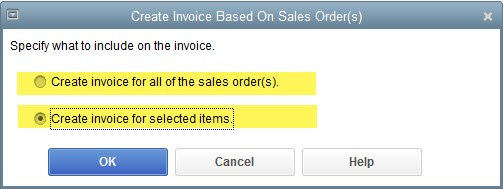 QuickBooks Invoice from Several Sales Orders
