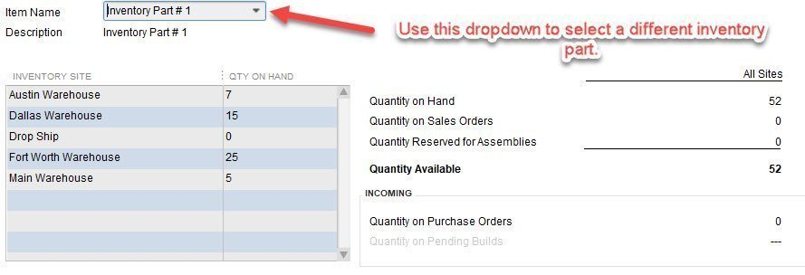 Current Availability by Item in QuickBooks Enterprise