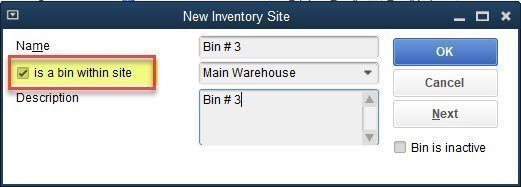 The Inventory Site List within QuickBooks Enterprise multiple warehouse setup and bin locations