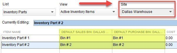 Setting Default Bins in QuickBooks
