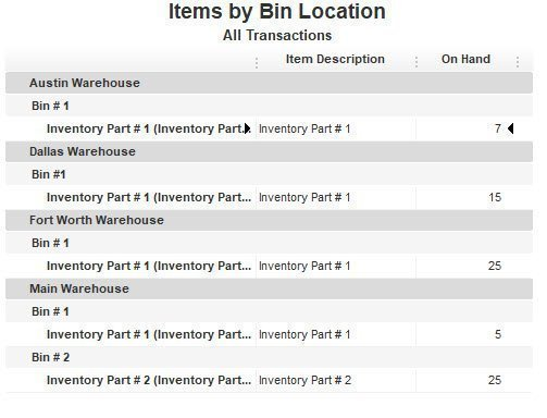 Items by Bin Location Report in QuickBooks Enterprise
