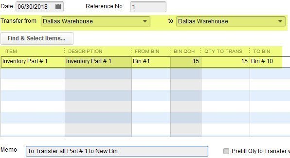 Transfer Bins in QuickBooks Enterprise. Transfer Bin Locations