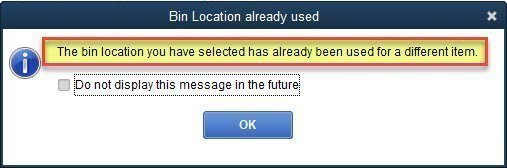 bin location already used
