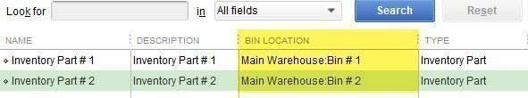 QuickBooks Bin Locations on the Item List