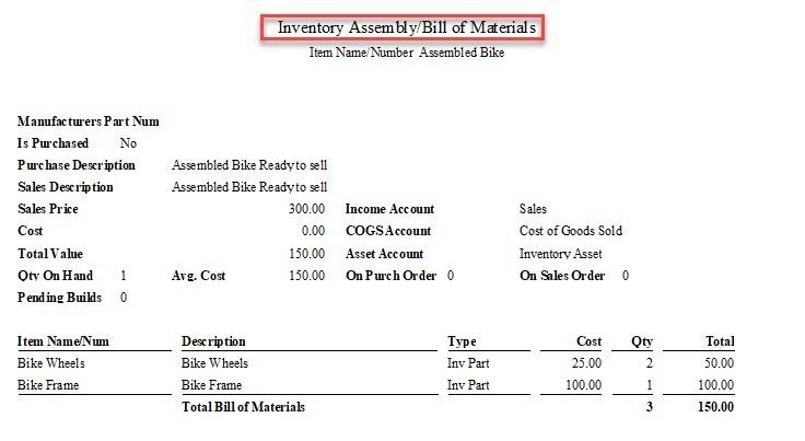 Assembly Items in QuickBooks